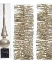 Kerstboom optuigen set parel champagne glazen piek en 2x kerstslingers 270 cm