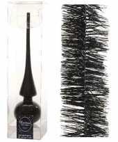 Kerstboom optuigen set zwart glazen piek en 3x kerstslingers 270 cm